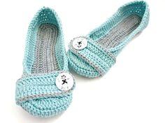 Women's Crochet Slippers  Button Slippers  by jaysboutiquecrochet
