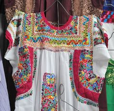 A gorgeous example of a traditional dress  or blouse in Oaxaca, Mexico.