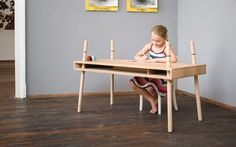 CASPAR is made of a solid wood body, four colored table legs and rubber rings. Although incredibly stable the whole table weighs less than 10kg. The table grows with your children and shrinks again for younger siblings. Thanks to the adjustable legs CASPAR is very stable on uneven ground. To balance out uneven floors, one leg can be adjusted in length so the desk is stable and is not rocking. In the tray under the table top children can easily store drawings, crayons and all treasures – the…