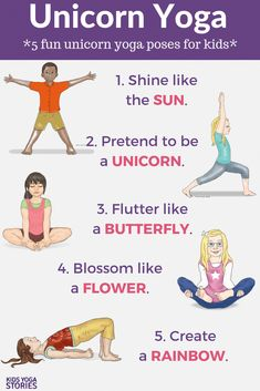 Looking for fun kids yoga class ideas? This collection of yoga ideas is for your home, classroom, or studio. Each theme has 5 books + 5 yoga poses for kids. Kids Yoga Poses, Yoga For Kids, Exercise For Kids, Stretches For Kids, Teaching Yoga To Kids, Children Exercise, Kids Workout, Kid Exercise Games, Pose Yoga