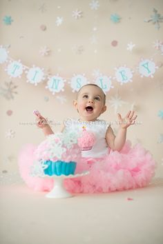 if you were to do the cake smash previous to the birthday party and have the pictures up AT the party, that would be a great way to do it and not have to deal with the mess the day of.