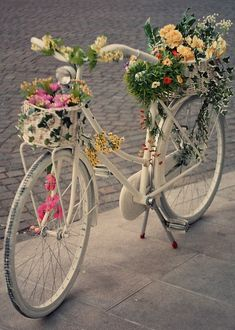 These photos really make me want a bike. with a cute bike basket filled with flowers. bikes & flowers - who knew images of these things c. Old Bicycle, Bicycle Art, Old Bikes, Jolie Photo, Vintage Bikes, Mail Art, Garden Art, Bunt, Diy Crafts