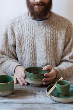 Handmade Set of 4 Stoneware pieces / Turmaline Green Glaze / Oxidized copper…