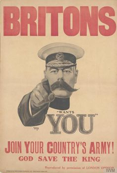 The iconic WWI recruitment poster featuring Lord Kitchener calling the British people to fight for their country. First circulated in 1914. From the Imperial War Museums, UK.