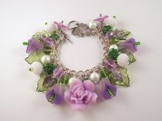 Lilac Green Charm Bracelet Flower Chain Maille by Flamed Hair Jewellery Designs