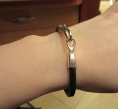 Black Color Band Leather Bracelet With a Hook Clasp For Men A Hook, Unique Gifts, Handmade Gifts, Silver Color, Gift Ideas, Band, This Or That Questions, Bracelets, Leather