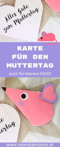 """Muttertagskarte """"Maus"""" – einfache Idee für kleine Kinder Muttertagskarte, mother's day card, mother's day crafts, Basteln für den Muttertag, Muttertagsgeschenk"""