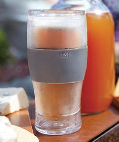 Freeze Pint Glass   BPA-free glass with built in cooling gel and an insulated rubber grip