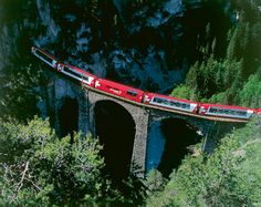 The luxury Glacier Express trains with panoramic windows connects Zermatt and St Moritz via some of the most spectacular Alpine scenery in Switzerland. Glacier Express Switzerland, Switzerland Tourism, Zermatt, Bernina Express, Sils Maria, Europe Train, Train Route, Train Trip, St Moritz