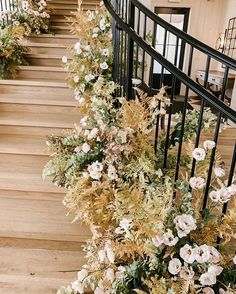 Gorgeous locally grown lisianthus from in this staircase installation 🙌 via Wedding Reception Decorations, Wedding Ceremony, Wedding Church, Wedding Stairs, Floral Wedding, Wedding Flowers, Ethereal Wedding, Romantic Weddings, Flower Studio