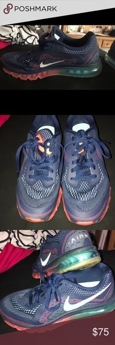 brand new 31961 d7d5f Nike Women s Air Max Size 10 Nike women s airmax sneakers size 10 Main color   navy Accent colors  light blue and pink Worn only a handful of times ...