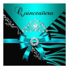 Quinceanera 15th Birthday Zebra Blue Black Tiara Custom Invite lowest price for you. In addition you can compare price with another store and read helpful reviews. BuyDeals          	Quinceanera 15th Birthday Zebra Blue Black Tiara Custom Invite please follow the link to see fully rev...