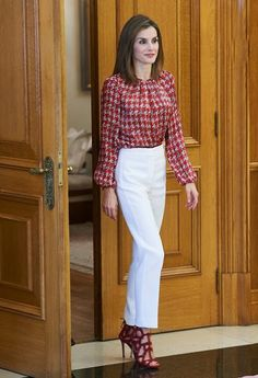 Queen Letizia attends a audience at Zarzuela Palace
