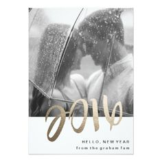 2016 / Hello, New Year Gold Foil Photo Card