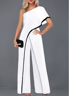 Contrast Piping White One Sleeve Jumpsuit on sale only US$32.17 now, buy cheap Contrast Piping White One Sleeve Jumpsuit at liligal.com