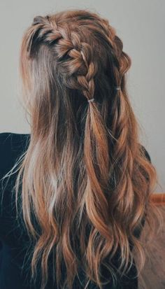 Easy Braided Hairstyles, Hairstyles For Medium Length Hair, Half Braided Hair, Hair Styles For Long Hair For School, Hair Styles Summer, Hair Ideas For School, Braided Hairstyles For Long Hair, Braided Pigtails, Cute Simple Hairstyles