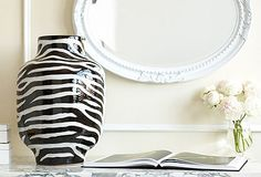 This black and white zebra vase makes a great accent piece.