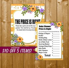 Floral Price is Right Baby Shower Game, Peach Stripe with Gold, Floral Shower Games, Baby Shower Game Printable, Instant Download