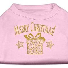 Golden Christmas Present Dog Shirt Light Pink XXXL (20)