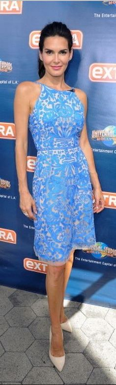 Who made Angie Harmon's blue print dress