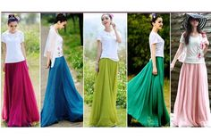 $23 for a Flowy Chiffon Maxi Skirt - 7 Color Options - Shipping Included
