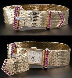 Retro buckle bracelet watch with diamonds and rubies, circa 1940s, via Diamonds in the Library.