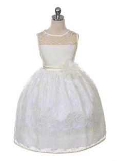 Ivory All Lace Flower Girl Dress Sizes 2-12 in 10 Colors