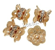 Brass Spacer Beads, Flower, KC gold color plated, with rhinestone, nickel, lead & cadmium free, 10x12mm,china wholesale jewelry beads***0,133