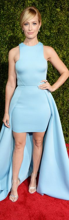 Beth Behrs in a high-low dress by Gauri and Nainika.
