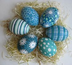 blue easter egg    Easter Eggs set of 6 chicken Blue and by ukrainianeastereggs