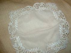 White Lace Embroidery Handkerchief by cajunstitchery on Etsy, $60.00