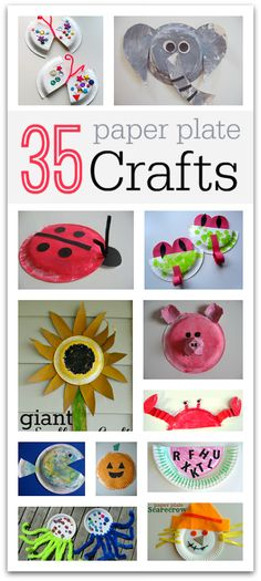 35 Easy Paper Plate Crafts Need to entertain the kids for a while? Try these easy 35 DIY paper plate crafts! Paper Plate Art, Paper Plate Crafts, Paper Plates, Craft Activities For Kids, Preschool Activities, Projects For Kids, Craft Projects, Craft Ideas, Daycare Crafts