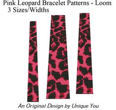 Beading Patterns Loom Bracelet Square Stitch - Fun Colorful Pink Leopard Animal Print- 3 for 1 Special PDF. $9.00, via Etsy.