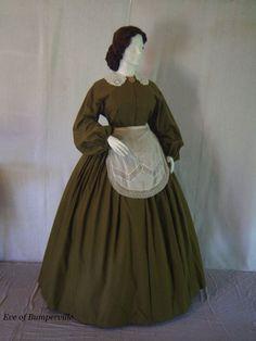 Civil War/Victorian/1860's Homespun Day/Camp/Work Dress & Vintage Apron/Collar