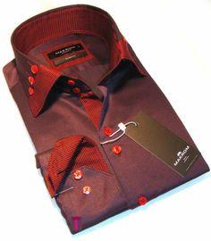 Brand New Mens Formal Purple and Red Smart Italian Design Collar Slim Fit Shirt