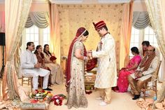 Sweet indian couple at their wedding ceremony. http://www.maharaniweddings.com/gallery/photo/92518