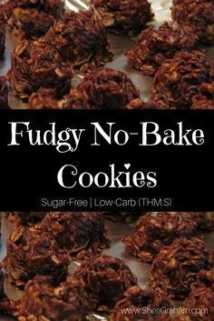 Fix these Fudgy No-Bake Cookies with NO GUILT! Drop Cookies No Bake, Healthy No Bake Cookies, Baking Cookies, Mama Recipe, Healthy Treats, Healthy Protein, Protein Snacks, Yummy Treats, Low Carb Recipes