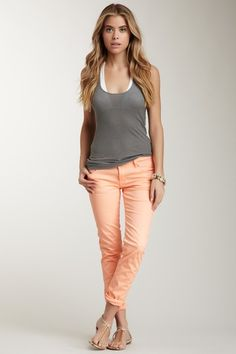 Neon Skinny Jean  - I adore the color (love it paired with the gray)