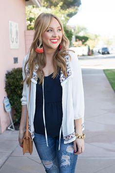 Hannah Hagler   Machine Jeans   Raw Hem Skinny Ripped Jeans   Casual Heels   Fashion Blogger   Denim