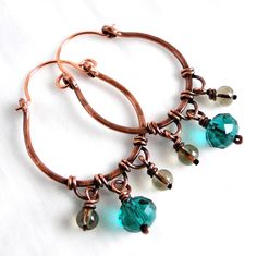 Hoop Earrings, Antiqued Copper Jewelry, Teal Green and Gray Glass, Wire Wrapped Earrings by KariLuJewelry on Etsy https://www.etsy.com/listing/116737571/hoop-earrings-antiqued-copper-jewelry