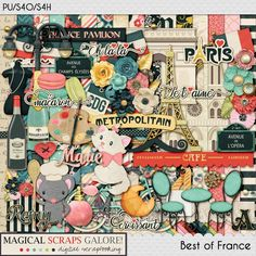 {Best of France} Digital Scrapbook Collection by Magical Scraps Galore, available at Gingerscraps and The Digichick http://store.gingerscraps.net/Best-of-France-collection.html  http://www.thedigichick.com/shop/Best-of-France-collection.html #magicalscrapsgalore
