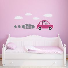 Car Wall Decal with Custom Girls Name - Girl Bedroom Wall Sticker - Personalized Children Wall Decals. Car with Girl's Name Wall Decal is available in the colors of your choice. You can choose the color for the car and the clouds. See the color chart for your options. The decal will arrive on several different sheets. The car will come assembled on one sheet, the clouds will come on another and the exhaust clouds will come on a third sheet. The photographs are for a reference be sure to…