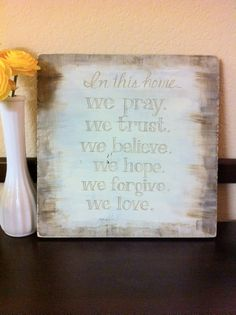 this could ber easily made with old wood, and painting stickers for the words, and jst paint over th stickers. one dry, remove the stickers. its nice words tho Christian Crafts, Christian Art, Wood Crafts, Diy And Crafts, Encouragement, House Rules, Old Wood, My Living Room, Wooden Signs