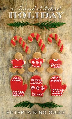 "My ""handstitched"" Holiday Entertaining Guide is full of great Entertaining inspiration for the Holidays. Whether you're hosting a festive Cocktail Party, Elegant Dinner Party or Casual Holiday Brunch, I have… Cute Christmas Cookies, Christmas Cookie Exchange, Xmas Cookies, Christmas Gingerbread, Noel Christmas, Christmas Goodies, Christmas Treats, All Things Christmas, Christmas Decorations"