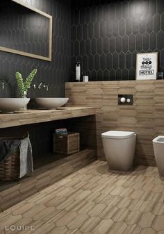 Equipment lozenge tiles in timber and dark grey