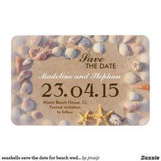 seashells save the date for beach wedding