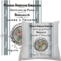 Paris Pillow Collage Printable Limoges French by FrenchPaperMoon