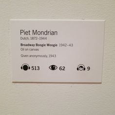 """Piet Mondrian """"Broadway Boogie Woogie"""" 1942-43 Museum Of Modern Art, Museum Of Fine Arts, Art Stand, Boogie Woogie, Piet Mondrian, Museum Exhibition, Art Fair, Exhibitions, Typo"""