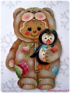 GINGERBREAD Bear Suit with Penguin - Handpainted by Pamela House