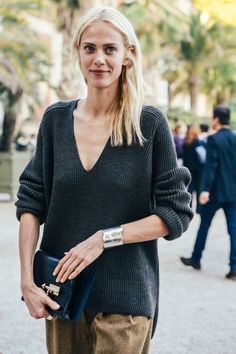 Street Style Fashion: Aymeline Valade in Effortless Chic Style by Tommy Ton. #StreetStyle